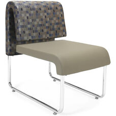 UNO Lounge Chair - Blue Jay Back with PU Taupe Seat