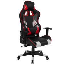X40 Reclining Gaming Chair Racing Office Ergonomic PC Adjustable Swivel Chair with Adjustable Lumbar Support, Black/Red LeatherSoft