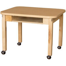 Mobile Classroom High Pressure Laminate Desk with Hardwood Legs - 24
