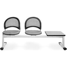 Moon 3-Beam Seating with 2 Putty Fabric Seats and 1 Table - Gray Nebula Finish