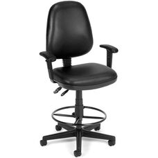 Straton Series Anti-Microbial and Anti-Bacterial Vinyl Task Chair with Arms and Drafting Kit - Black
