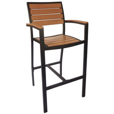 Largo Arm Black Frame Barstool - Synthetic Teak Seat & Back