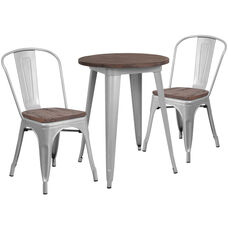"24"" Round Silver Metal Table Set with Wood Top and 2 Stack Chairs"