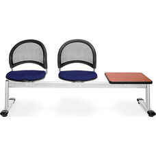 Moon 3-Beam Seating with 2 Navy Fabric Seats and 1 Table - Cherry Finish