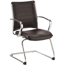 Europa 22'' W x 25.5'' D x 35.4'' H Leather Guest Chair - Black with Chrome Base