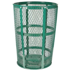 Expanded Vertically Ribbed Durable Metal Receptacle - Green