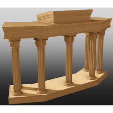 Stained Red Oak Open Wing Pulpit With Round Fluted Column Legs