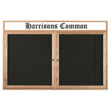 2 Door Enclosed Changeable Letter Board with Header and Oak Finish - 48
