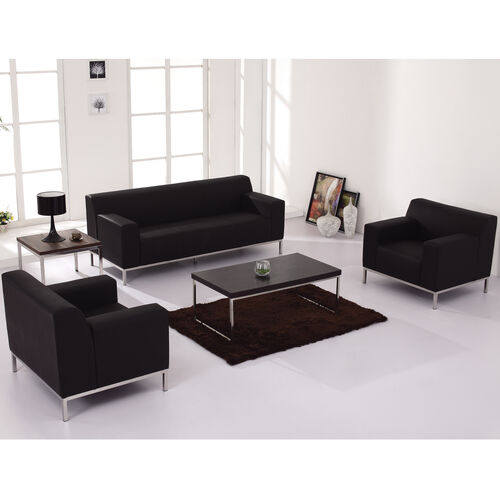 HERCULES Definity Series Contemporary Black LeatherSoft Loveseat with Stainless Steel Frame