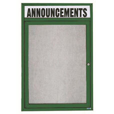 1 Door Outdoor Illuminated Enclosed Bulletin Board with Header and Green Powder Coated Aluminum Frame - 48