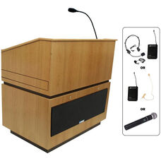Coventry Wireless 150 Watt Sound Multimedia Lectern - Oak Finish - 30