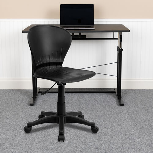 Our Mid-Back Black Plastic Swivel Task Office Chair is on sale now.