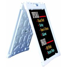 Universal Sidewalk A-Frame Sign Holder with Deluxe Black Markerboard - White - 27