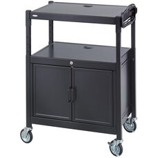 Height Adjustable Steel AV Cart with Cabinet - Black