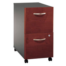 Series C 16''W x 20.5''D 2 Drawer Assembled Mobile Pedestal File Cabinet - Hansen Cherry and Graphite Gray