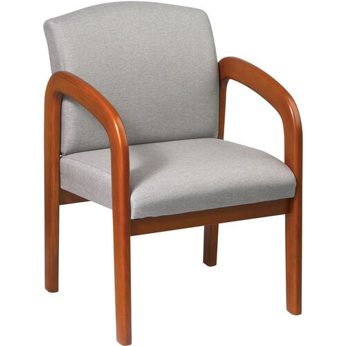 Our Work Smart Padded Visitors Chair with Wood Base and Arms - Medium Oak is on sale now.