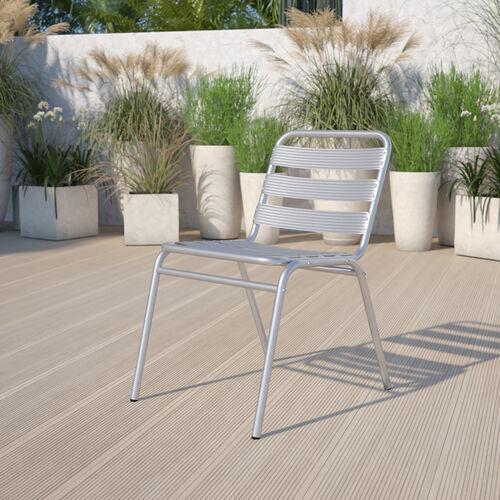 Commercial Aluminum Indoor-Outdoor Restaurant Stack Chair with Triple Slat Back