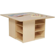 Healthy Kids Plywood Cubbie Table with Twelve Brown Storage Trays Underneath - Assembled - 36