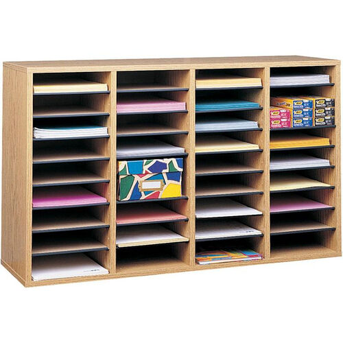 Our Adjustable Wooden Literature Organizer with Thirty-Six Compartment - Medium Oak is on sale now.