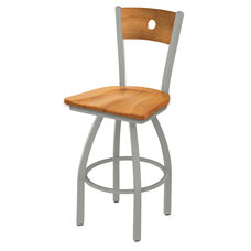 Voltaire 30'' Anodized Nickel Finish Swivel Barstool with Medium Maple Wood Back and Seat