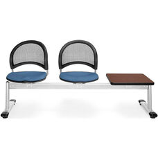 Moon 3-Beam Seating with 2 Cornflower Blue Fabric Seats and 1 Table - Mahogany Finish