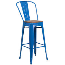 """30"""" High Blue Metal Barstool with Back and Wood Seat"""