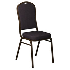 Embroidered Crown Back Banquet Chair in Shire Stable Fabric - Gold Vein Frame