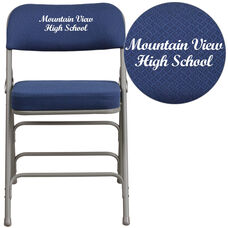 Embroidered HERCULES Series Premium Curved Triple Braced & Double Hinged Navy Fabric Metal Folding Chair