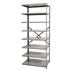 Hi-Tech Open Style 8 Adjustable Metal Shelving Add On Unit - Unassembled - Dark Gray - 87