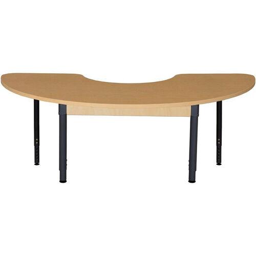 Half Circle High Pressure Laminate Table with Adjustable Steel Legs - 64