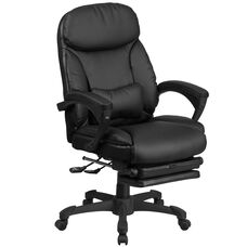 High Back Black Leather Executive Reclining Ergonomic Swivel Office Chair with Comfort Coil Seat Springs and Arms