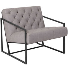 HERCULES Madison Series Retro Light Gray Leather Tufted Lounge Chair