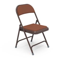 Quick Ship Multi-Purpose Steel Folding Chair with Brown Vinyl Pads and Mocha Frame - 17.75