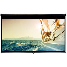 White and Black Wall Mountable Pull-Down Projection Screen with Matte White Fabric Screen and Black Aluminum Housing - 105