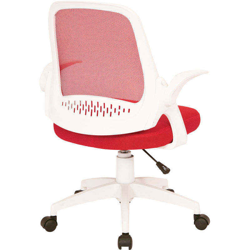 Office Star Products Ave Six Jackson Mesh Office Chair With White Frame And  Flip Arms   Red JKN26 W9M | ChurchChairs4Less.com