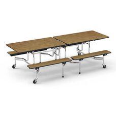 MTB Series Medium Oak Mobile Folding Bench Table with 17