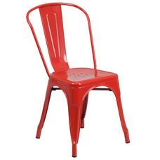 Red Metal Indoor-Outdoor Stackable Chair