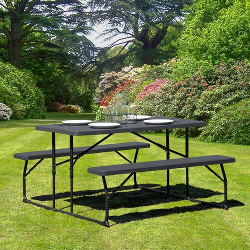 Our Insta-Fold Charcoal Wood Grain Folding Picnic Table and Benches is on sale now.