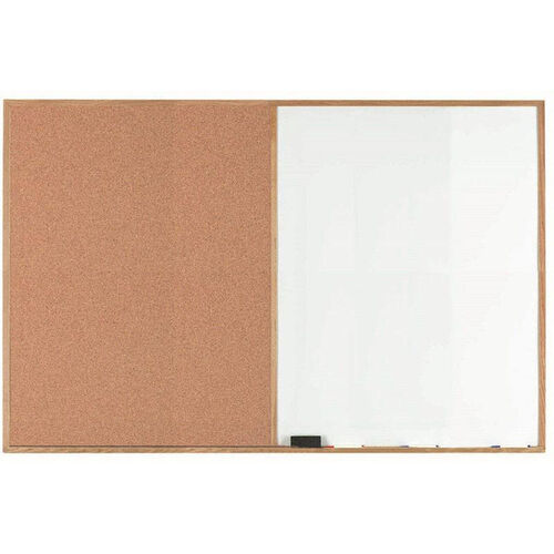 Our Wood Frame Combination Board with Natural Pebble Grain Cork Bulletin Board and Melamine Marker Board - 48