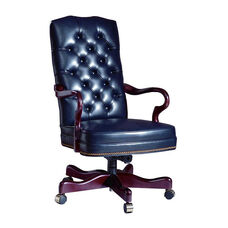 Hamilton Series Gooseneck Executive Swivel chair with Tufted Back and Plain Seat