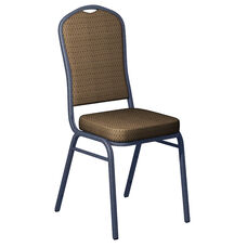 Embroidered Biltmore Brass Fabric Upholstered Crown Back Banquet Chair - Silver Vein Frame