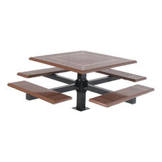 Thermoplastic Finished Steel Square Cantilever Picnic Table with Round Perforation and Powder Coat Finished Legs - 46