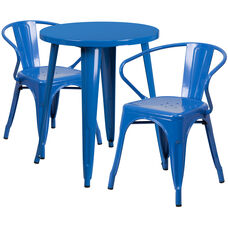 """Commercial Grade 24"""" Round Blue Metal Indoor-Outdoor Table Set with 2 Arm Chairs"""