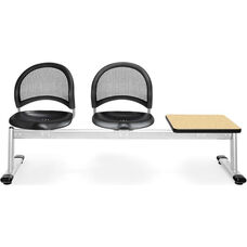 Moon 3-Beam Seating with 2 Black Plastic Seats and 1 Table - Oak Finish