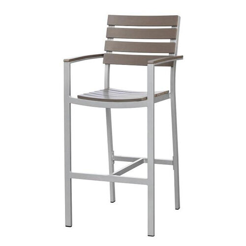 Our Vienna Outdoor Bar Arm Chair with Gray Durawood Slat Back and Seat - Silver Finish is on sale now.