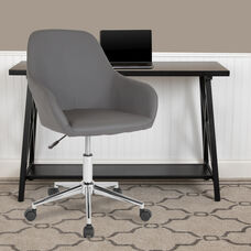 Cortana Home and Office Mid-Back Chair in Gray LeatherSoft