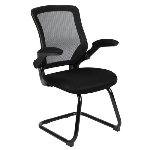 Our Black Mesh Sled Base Side Reception Chair with Flip-Up Arms is on sale now.