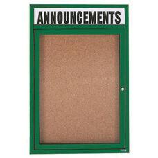 1 Door Indoor Enclosed Bulletin Board with Header and Green Powder Coated Aluminum Frame - 24