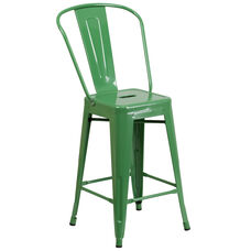"Commercial Grade 24"" High Green Metal Indoor-Outdoor Counter Height Stool with Back"