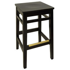 Trevor Black Wood Backless Barstool - Wood Seat